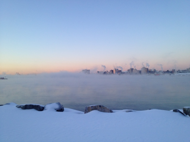 A photo of the Halifax Harbour on a particularly cold walk to work!