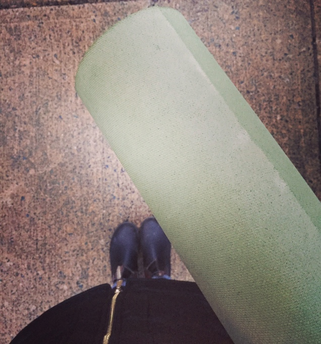 Favourite yoga mat in tow.